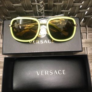Authentic Versace sunglasses neon green with case